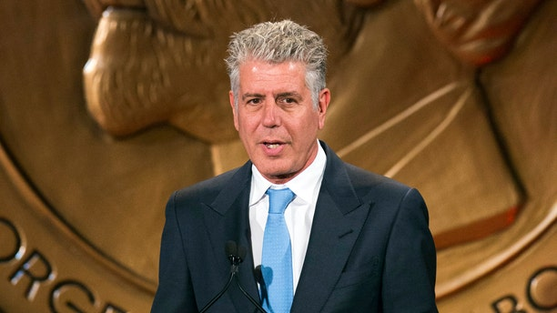 """Television personality Anthony Bourdain speaks about the show """"Parts Unknown"""" after the show won a Peabody Award in New York May 19, 2014."""