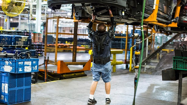 Called EksoVest, the wearable technology elevates and supports a worker's arms while performing overhead tasks.