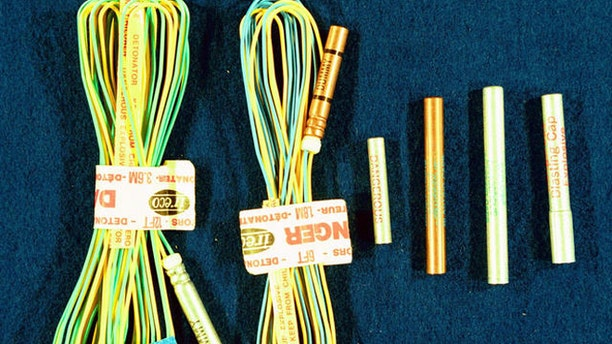 In this photo provided by the Bureau of Alcohol, Tobacco, Firearms and Explosives, sample detonation cord and blasting caps is shown.