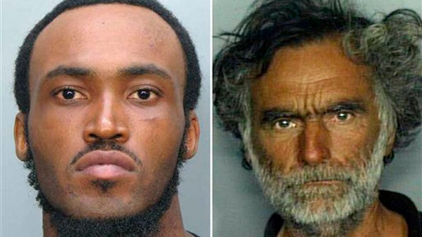 May 26, 2012: This combo made with undated photos made available by the Miami-Dade Police Dept. shows Rudy Eugene, 31, left, who police shot and killed as he ate the face of Ronald Poppo, 65, right, during a horrific attack in the shadow of the Miami Herald's headquarters.