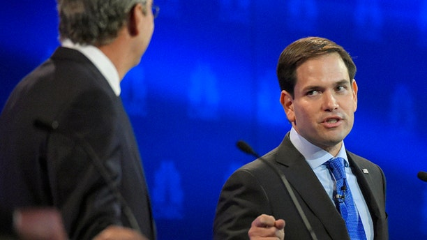Marco Rubio and Jeb Bush during the CNBC Republican debate on Oct. 28, 2015, in Boulder, Colo.
