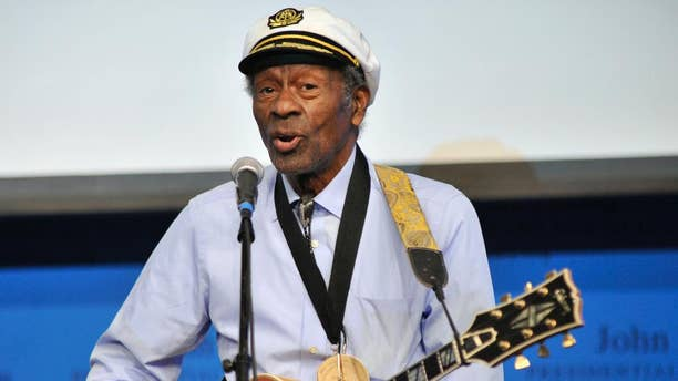 """FILE - In this Feb. 26, 2012 file photo, rock 'n' roll legend Chuck Berry performs """"Johnny B. Goode"""" at the John F. Kennedy Presidential Library and Museum in Boston. Berry is set to release his first new studio album in more than 35 years. The album, titled """"Chuck,"""" will be available in 2017. (AP Photo/Josh Reynolds, File)"""