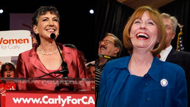 Shown here are California GOP Senate nominee Carly Fiorinia, left, and Nevada GOP Senate nominee Sharron Angle. (AP Photos)