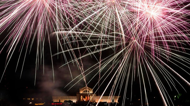 July 3, 2014: Fair St. Louis fireworks illuminate the sky in front of the St. Louis Art Museum.