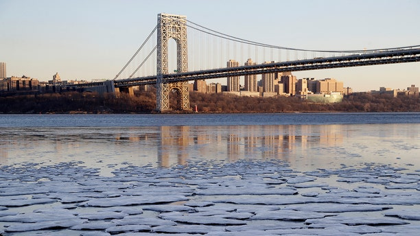 Jan. 2, 2018: Small patches of ice formed along the banks of the Hudson River near the George Washington Bridge in Fort Lee, N.J.