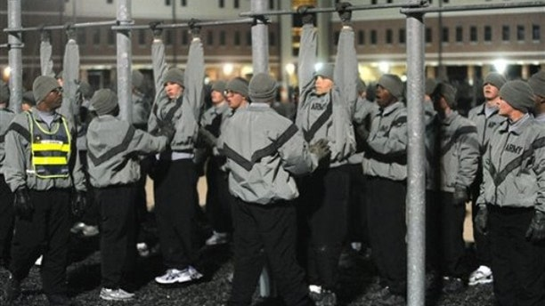 In this Dec. 1 photo, military police trainees are shown exercising at the 787th Military Police Battalion complex in Fort Leonard Wood, Mo. (AP Photo)