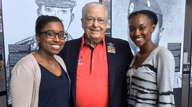 George Hardy today with Shelbie Johnson, Family Programs & Outreach Coordinator with the National WWII Museum, and student reporter Mizani Ball.