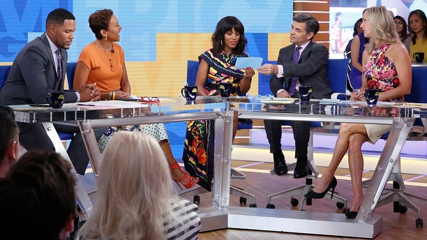 """From l-r: Michael Strahan, Robin Roberts, guest Kerry Washington, George Stephanopoulos and Lara Spender on """"Good Morning America,"""" Wednesday, May 17, 2017."""