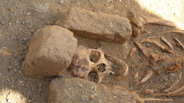 "The skeletons found in ""cemetery two"" at al-Ghazali in Sudan were all males, suggesting monks who lived in the nearby Christian monastery were buried there. (Credit: Photo courtesy Robert Stark)"