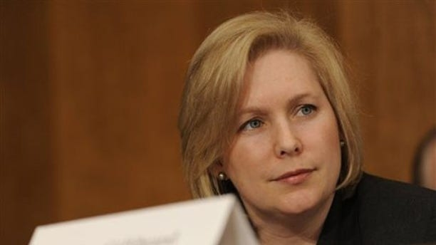 FILE -- Jan. 28, 2009: Sen. Kirsten Gillibrand, (D-N.Y.), listens to testimony on Capitol Hill in Washington during a Senate Foreign Relations Committee hearing.