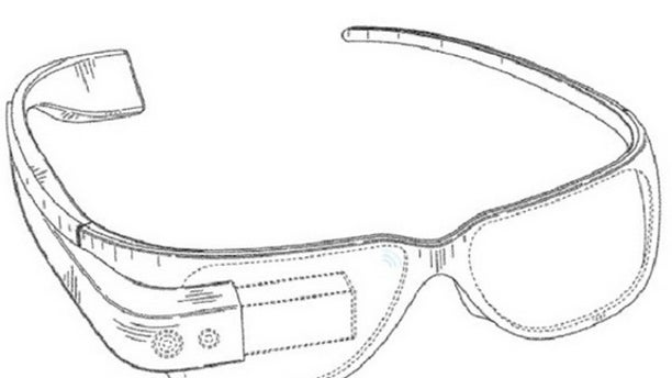 An image of the Google Glasses from the company's filed patent.