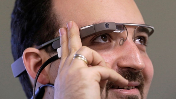 Nov. 4, 2013: Developer Maximiliano Firtman wears the prototype device Google Glass.