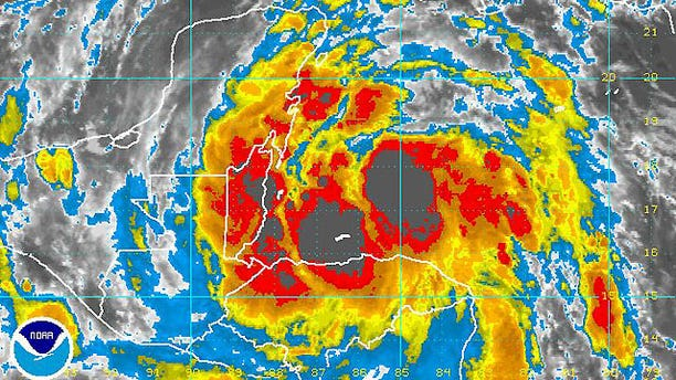 Tropical storm Alex hovers over the east coast of the Yucatan Peninsula.