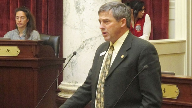 Feb. 18: State Sen. Jim Guthrie, R-Pocatello, debates in favor of a bill that would add Idaho to the short list of states that allow concealed weapons on college and university campuses.