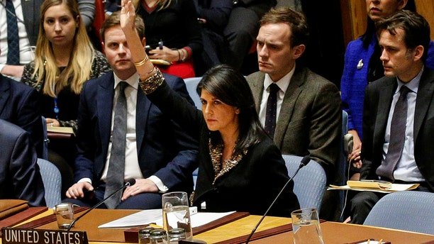 U.S. Ambassador to the U.N., Nikki Haley, was the lone raised hand voting no on the Egyptian-sponsored resolution that demands President Trump rescind his declaration that Jerusalem is the capital of Israel.