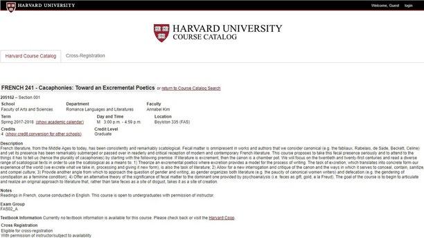 "The course description for ""Cacaphonies: Toward an Excremental Poetics."""