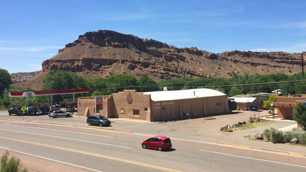 General store parking lot in Abiquiu, N.M. where authorities say Damian Herrera shot and killed 59-year-old Manuel Serrano.