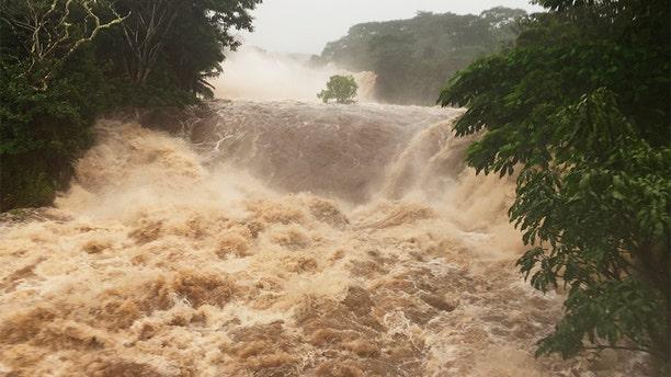 Flooding seen on Thursday near Hilo, Hawaii.