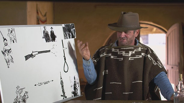 """Schappert, in Clint-appropriate garb, prepares to test a scene from """"The Good, the Bad and the Ugly."""""""