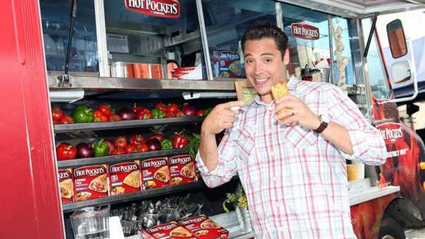 """Food Network's """"Sandwich King"""" Jeff Mauro is seen on location with the new Hot Pockets brand sandwiches in Los Angeles."""