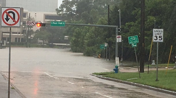 Flooding by the Galleria area of Houston, located west of downtown.