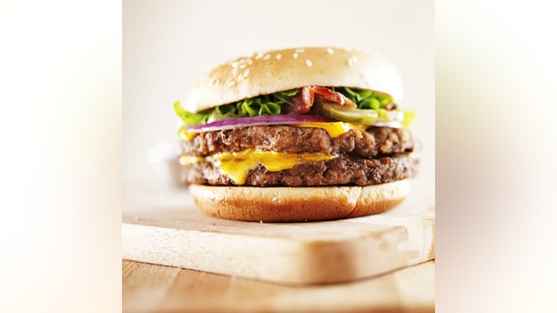 double cheese burger with bacon