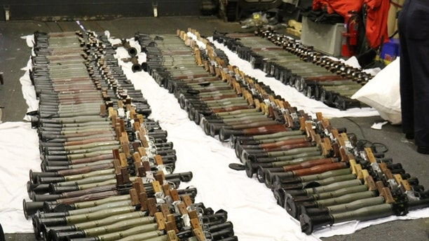 A cache of Iranian weapons seized in the Arabian Sea, assembled on the deck of the guided-missile destroyer USS Gravely.