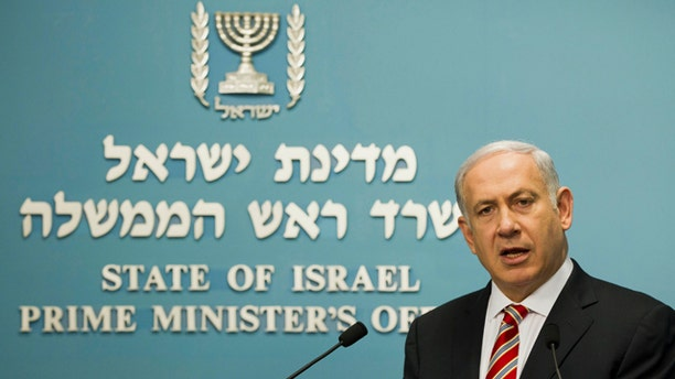 """Sept. 10: Israel's Prime Minister Benjamin Netanyahu gives a statement in front the media at the Prime Minister's office in Jerusalem. The storming of the Israeli embassy by a mob of Egyptian protesters inflicted a """"severe injury to the fabric of peace"""" between the two countries, Netanyahu warned on Saturday, as both sides' leadership tried to contain the worst crisis in ties since their 1979 peace treaty."""