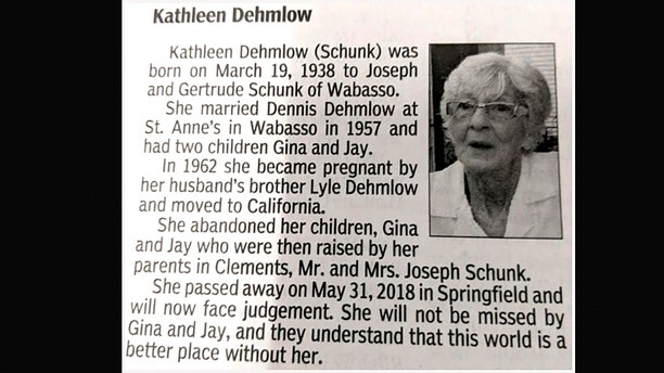 """The son who wrote Kathleen Dehmlow's harsh obituary says he's glad he was able to """"finally get the last word"""" on his relationship with his estranged mother."""