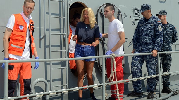 British tourist Kay Longstaff was saved by rescuers with Croatia's coast guard after falling off a cruise ship near the Croatian coast. (STR/AFP/Getty Images)