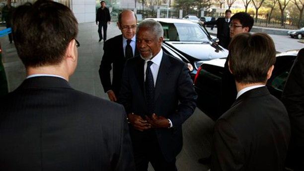 March 27, 2012: U.N.- Arab League envoy to Syria Kofi Annan arrives at the Chinese Ministry of Foreign Affairs for talks in Beijing, China.