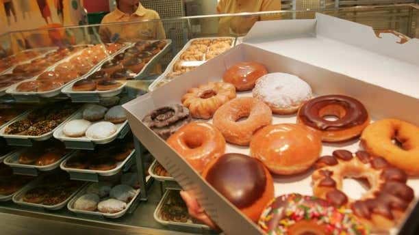 Dec. 12, 2006: A variety of doughnuts is displayed at new the Krispy Kreme store.