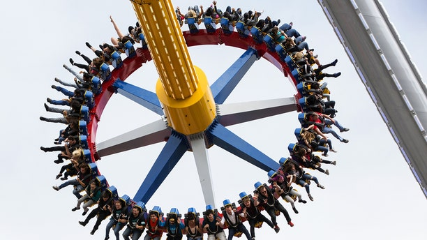 The new ride, which packs 40 riders on a counterclockwise spinning circle, will reach speeds up to 75 miles per hour and heights up to 170 feet.
