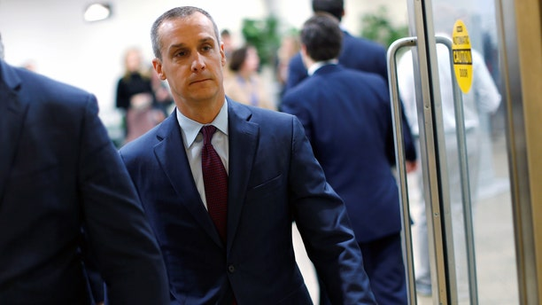 Corey Lewandowski arrives to testify before the House Intelligence Committee Wednesday.