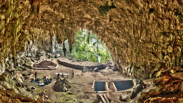 Liang Bua, a limestone cave on the Indonesian island of Flores. The Liang Bua Team prepares for new archaeological excavations. (Smithsonian Digitization Program Office / Liang Bua Team)