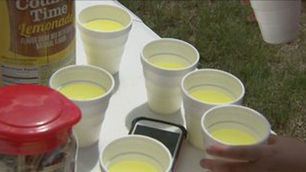 Mia MaGuire spent Saturday selling lemonade outside the Berkley Public Library in Berkley, Mass.