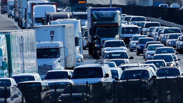 Dec. 10, 2013: Automobile traffic between San Diego and Los Angeles is shown along Interstate Highway 5 in California.