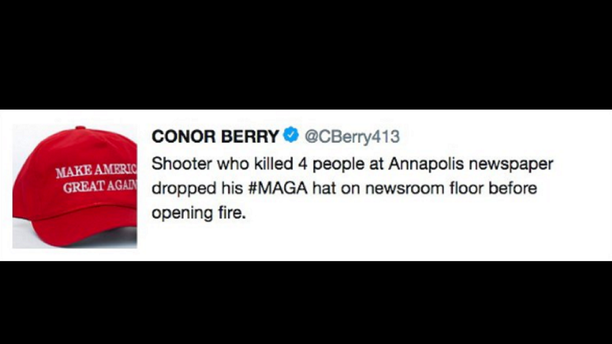 """Conor Berry, who worked for the Springfield, Massachusetts paper, The Republican, said his tweet was meant to be a """"snarky, sarcastic, cynical remark."""""""