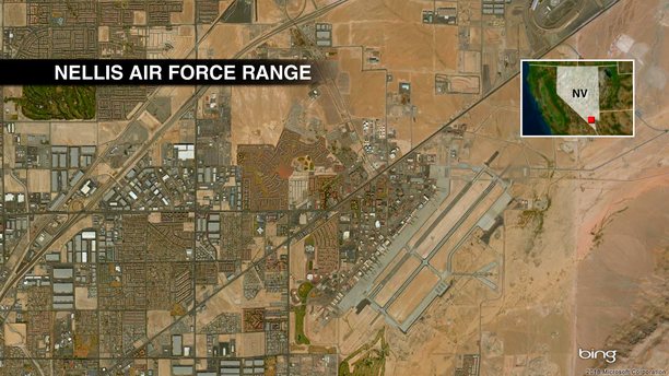 An aerial map of Nellis Air Force Base