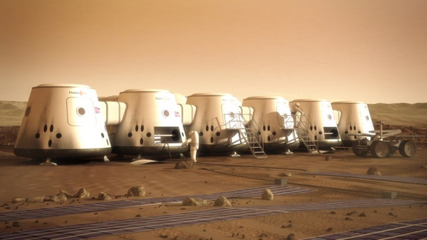 Artist's depiction of Mars One astronauts and their colony on the Red Planet.
