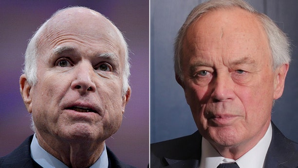"""Sir Andrew Wood, right, says he acted as a """"go-between"""" last year to inform Sen. John McCain, left, about the controversial """"dossier"""" containing allegations about then-candidate Donald Trump."""