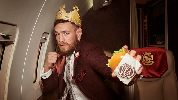 The self-appointed MMA king is pairing up with the Burger King for its latest sandwich.