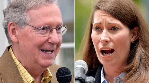 Accusations of misusing stock photos are flying between the campaigns of Senate Republican leader Mitch McConnell and Alison Lundergan Grimes, Kentucky's Democratic secretary of state.