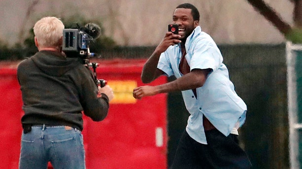 Meek Mill during his release from prison on April 24, following a five-month campaign to get him out.