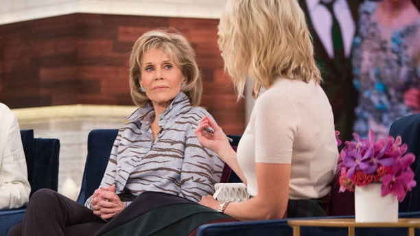 """Jane Fonda (left) appeared on Megyn Kelly's (right) show to promote her film """"Our Souls at Night"""" on Sept. 27, 2017."""