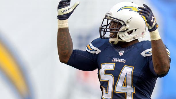 Nov 23, 2014; San Diego, CA, USA; San Diego Chargers outside linebacker Melvin Ingram (54) fires the crowd up against the St. Louis Rams during the fourth quarter at Qualcomm Stadium. Mandatory Credit: Jake Roth-USA TODAY Sports