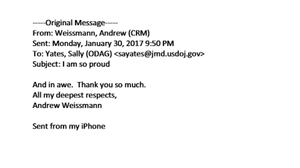 Andrew Weissmann sent a note to former acting Attorney General Sally Yates praising her decision not to defend President Trump's travel ban.