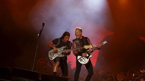 James Hetfield and Robert Trujillo of Metallica perform during the Rock in Rio Music Festival in Rio de Janeiro.