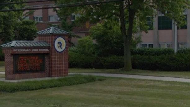 Outside Fitzgerald High School in Warren, Mich.