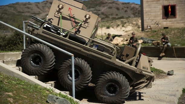 A Multi-Utility Tactical Transport (MUTT) is tested during the Urban Advanced Naval Technologies Exercise 18 (ANTX18) at Camp Pendleton, California, March 19, 2018.